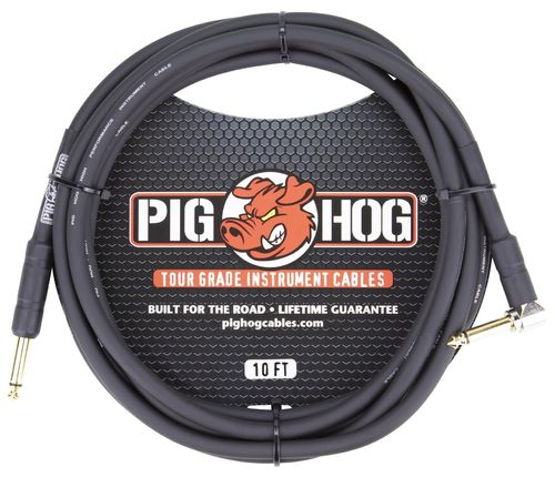 Pig Hog Right Angle 8mm Instrument Cable 10 ft.